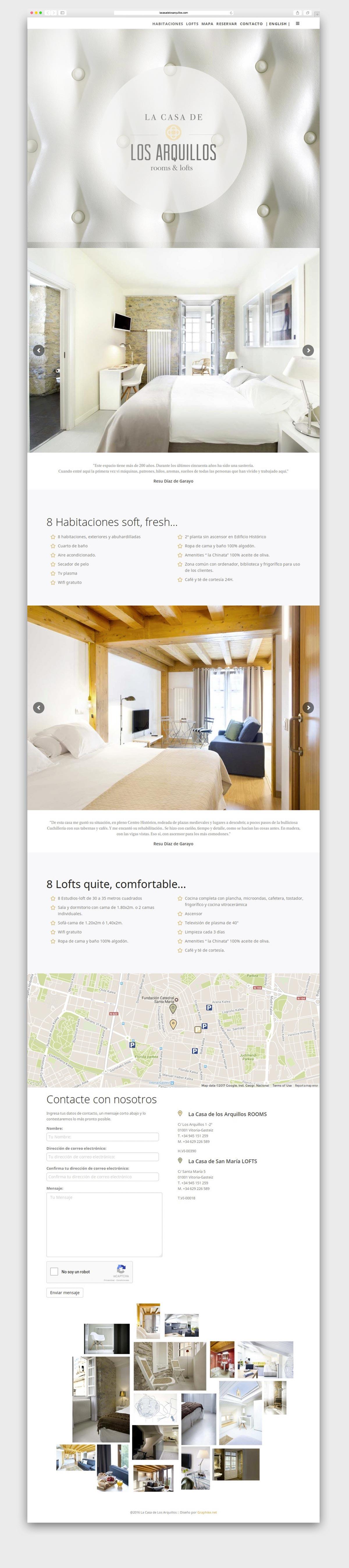 Diseño web. La Casa de los Arquillos. Humanos Unidos Comunicación. Vitoria-Gasteiz